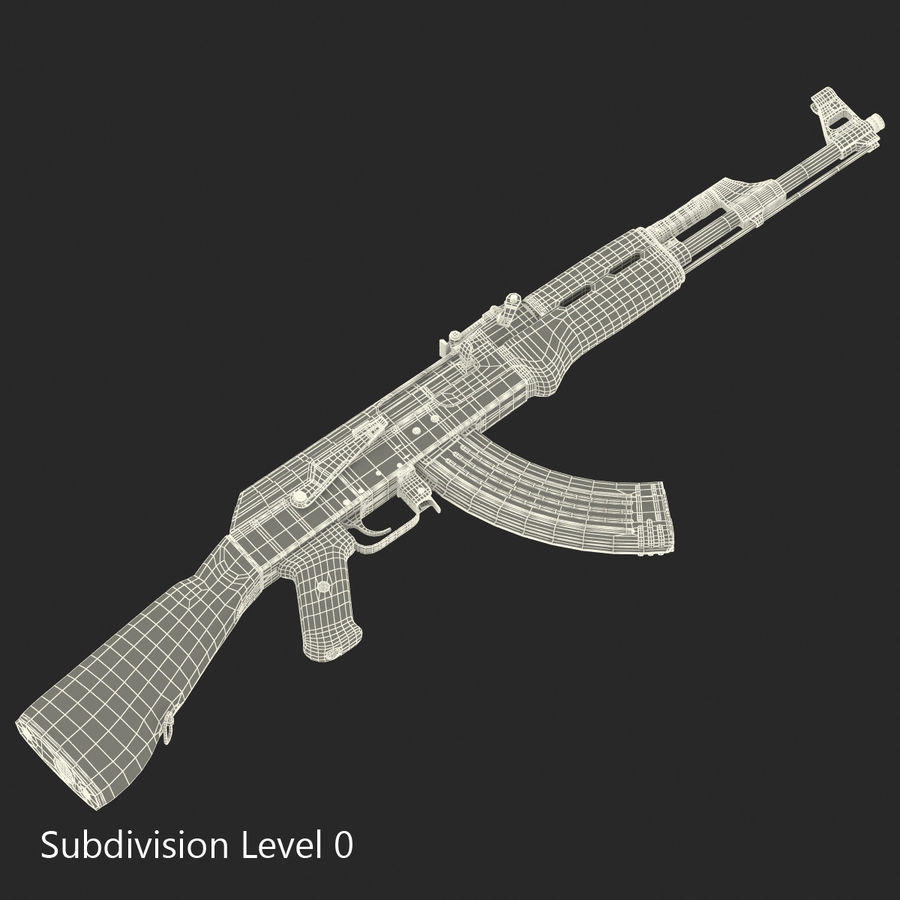 Assault Rifle AK 47 royalty-free 3d model - Preview no. 20