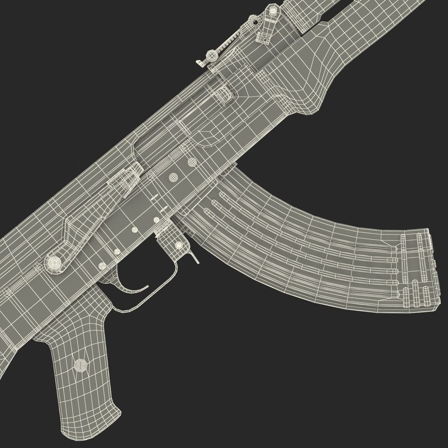 Assault Rifle AK 47 royalty-free 3d model - Preview no. 31