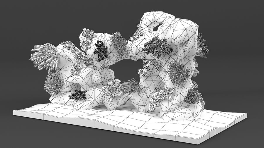 coral reef and fishes royalty-free 3d model - Preview no. 31