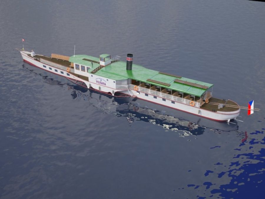 Czech cruise boat Vltava royalty-free 3d model - Preview no. 5