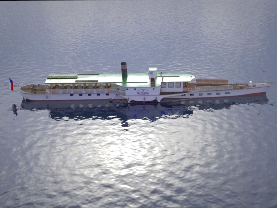 Czech cruise boat Vltava royalty-free 3d model - Preview no. 8