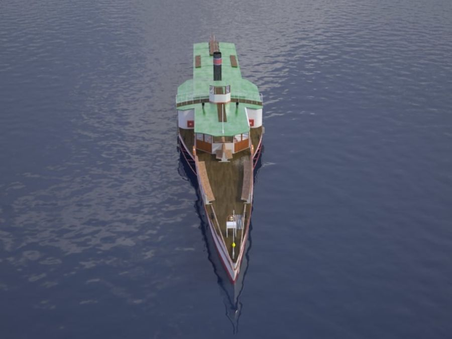 Czech cruise boat Vltava royalty-free 3d model - Preview no. 2