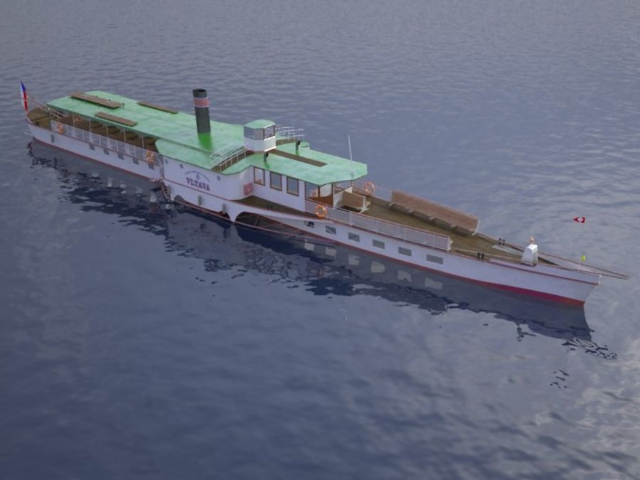Czech cruise boat Vltava royalty-free 3d model - Preview no. 9