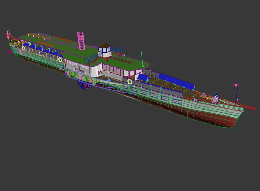 Czech cruise boat Vltava royalty-free 3d model - Preview no. 10