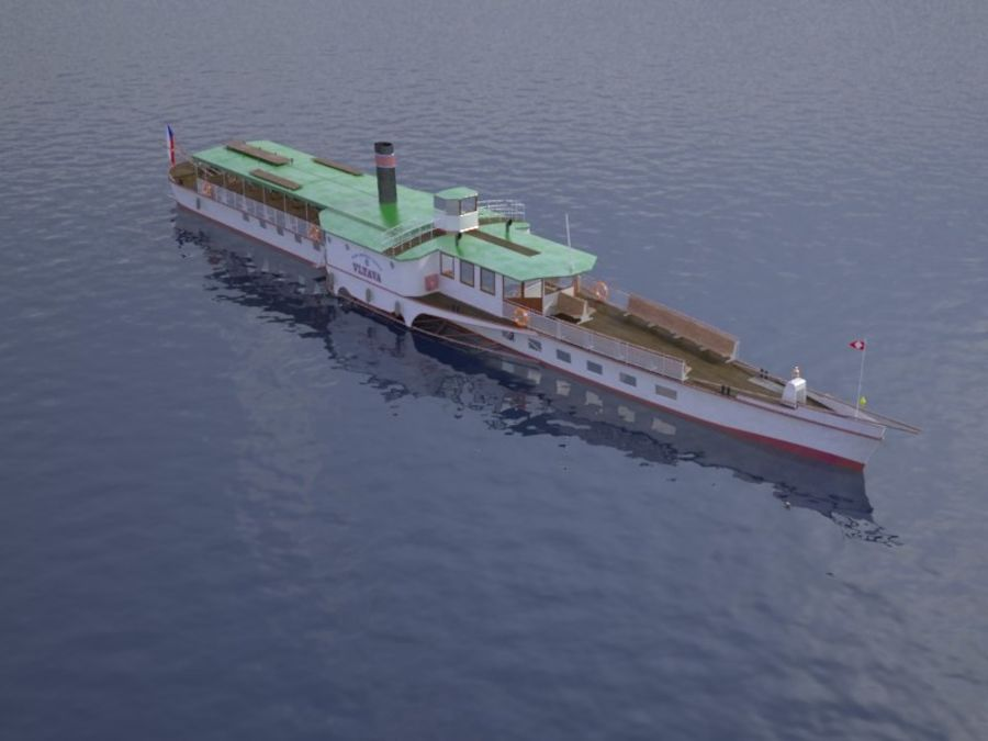 Czech cruise boat Vltava royalty-free 3d model - Preview no. 1