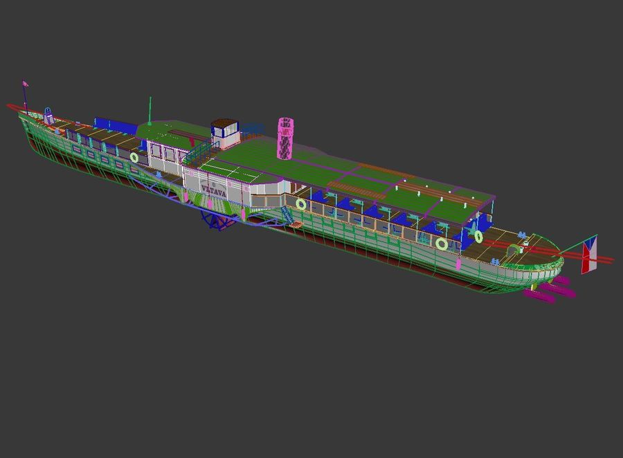 Czech cruise boat Vltava royalty-free 3d model - Preview no. 11