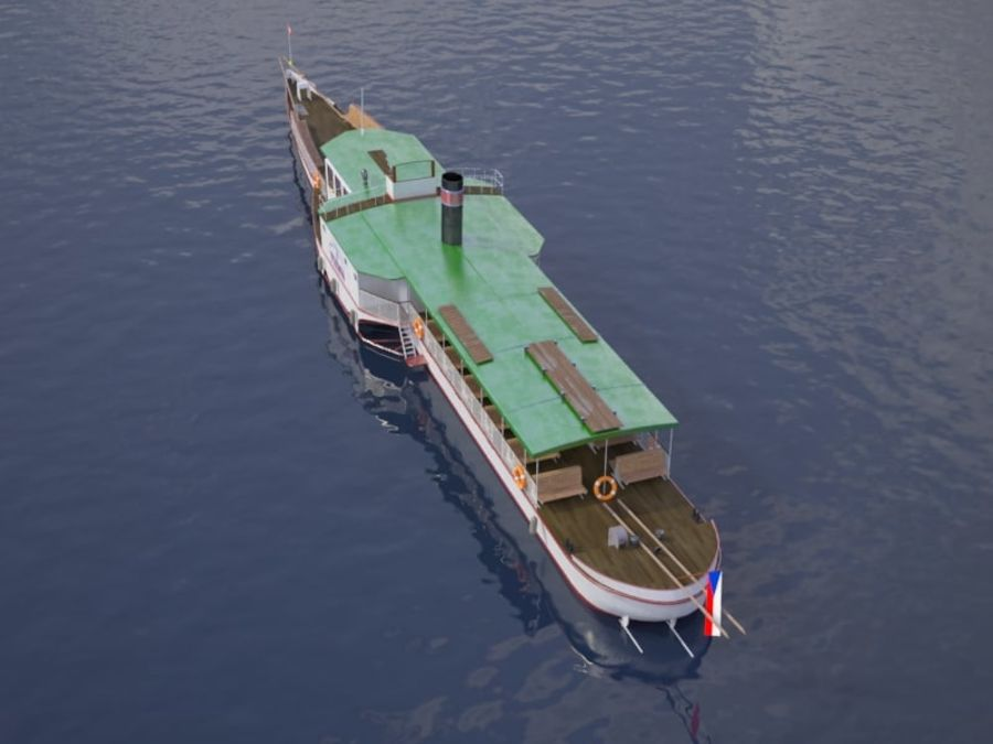 Czech cruise boat Vltava royalty-free 3d model - Preview no. 6