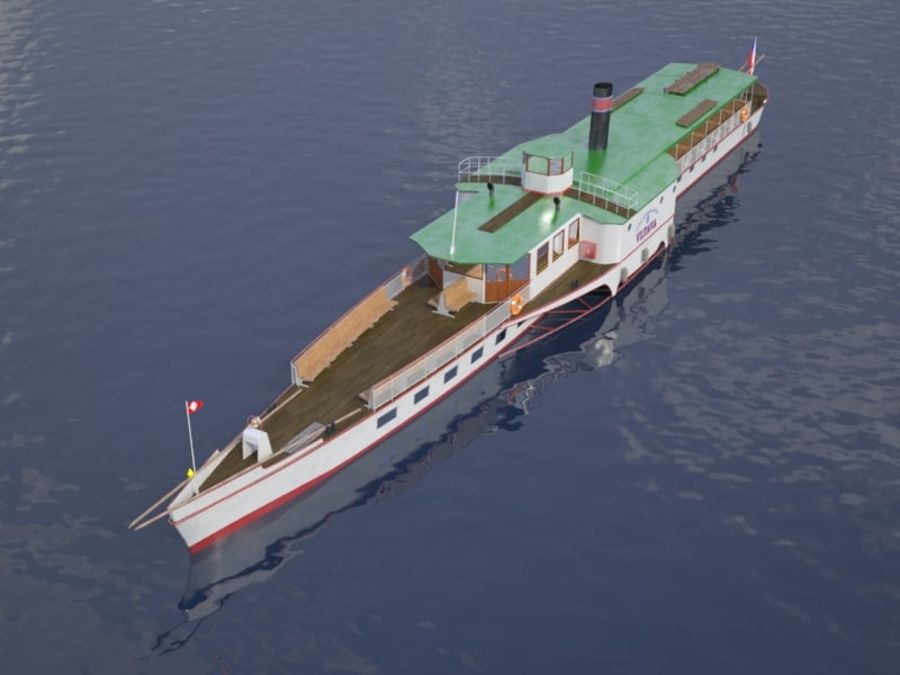 Czech cruise boat Vltava royalty-free 3d model - Preview no. 3