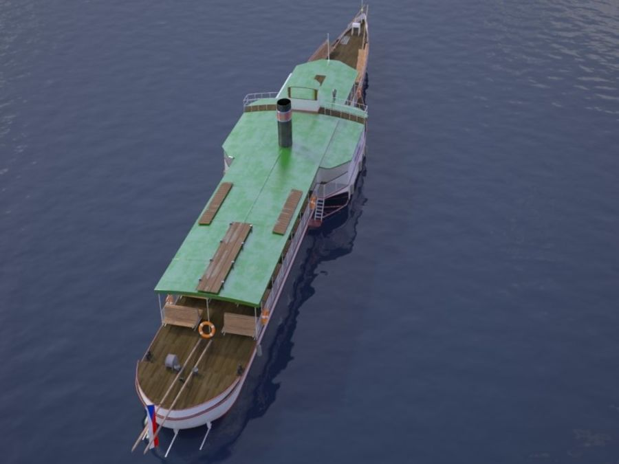 Czech cruise boat Vltava royalty-free 3d model - Preview no. 7