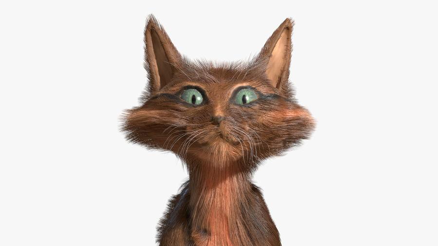 Gatto dipinto con i capelli royalty-free 3d model - Preview no. 2