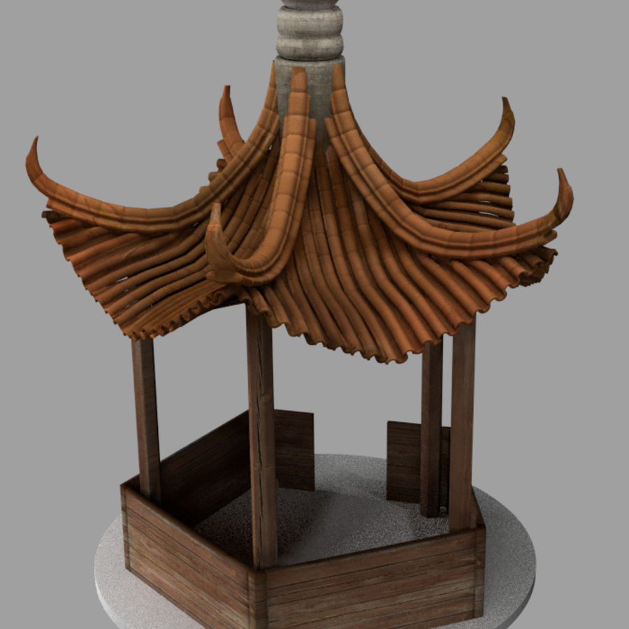 пагода royalty-free 3d model - Preview no. 3