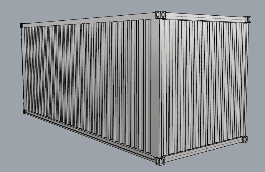 Container 20 ft royalty-free 3d model - Preview no. 2