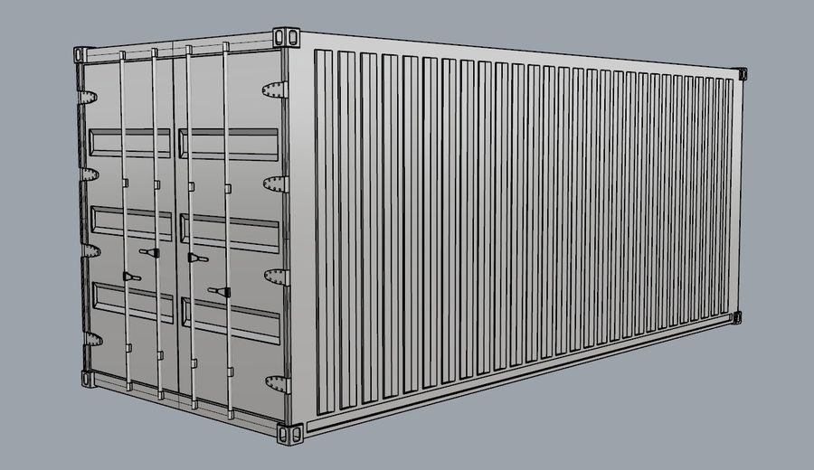 Container 20 ft royalty-free 3d model - Preview no. 1