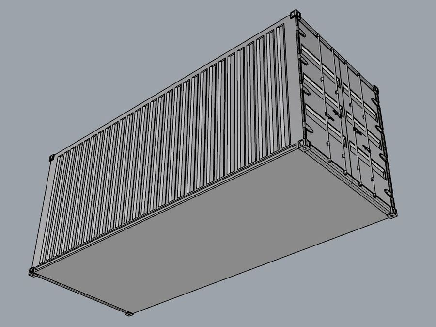 Container 20 ft royalty-free 3d model - Preview no. 4