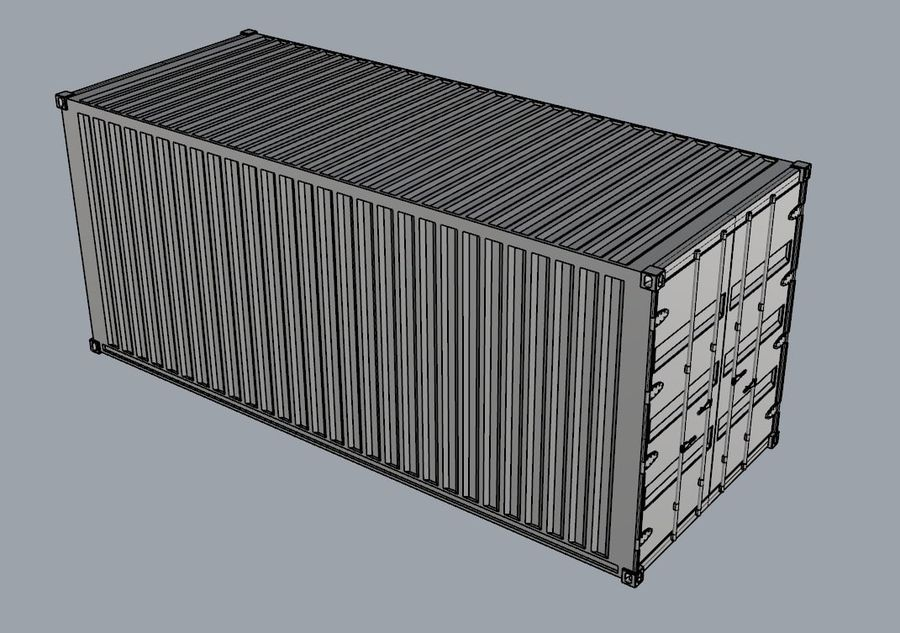 Container 20 ft royalty-free 3d model - Preview no. 3