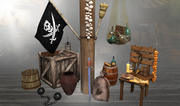 Requisiten mit einem Piratenschiff 3d model