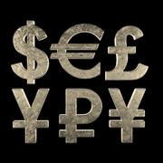 Símbolos de moneda modelo 3d