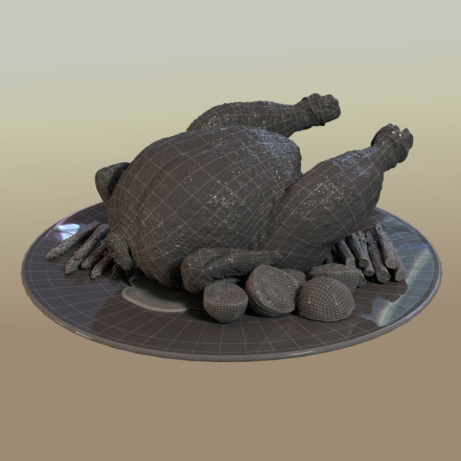fried chicken royalty-free 3d model - Preview no. 5