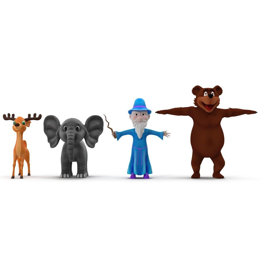 Cartoon Characters Collection royalty-free 3d model - Preview no. 2