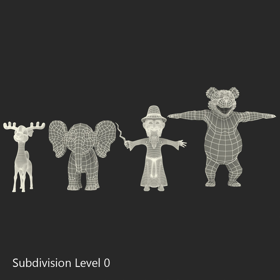 Cartoon Characters Collection royalty-free 3d model - Preview no. 49