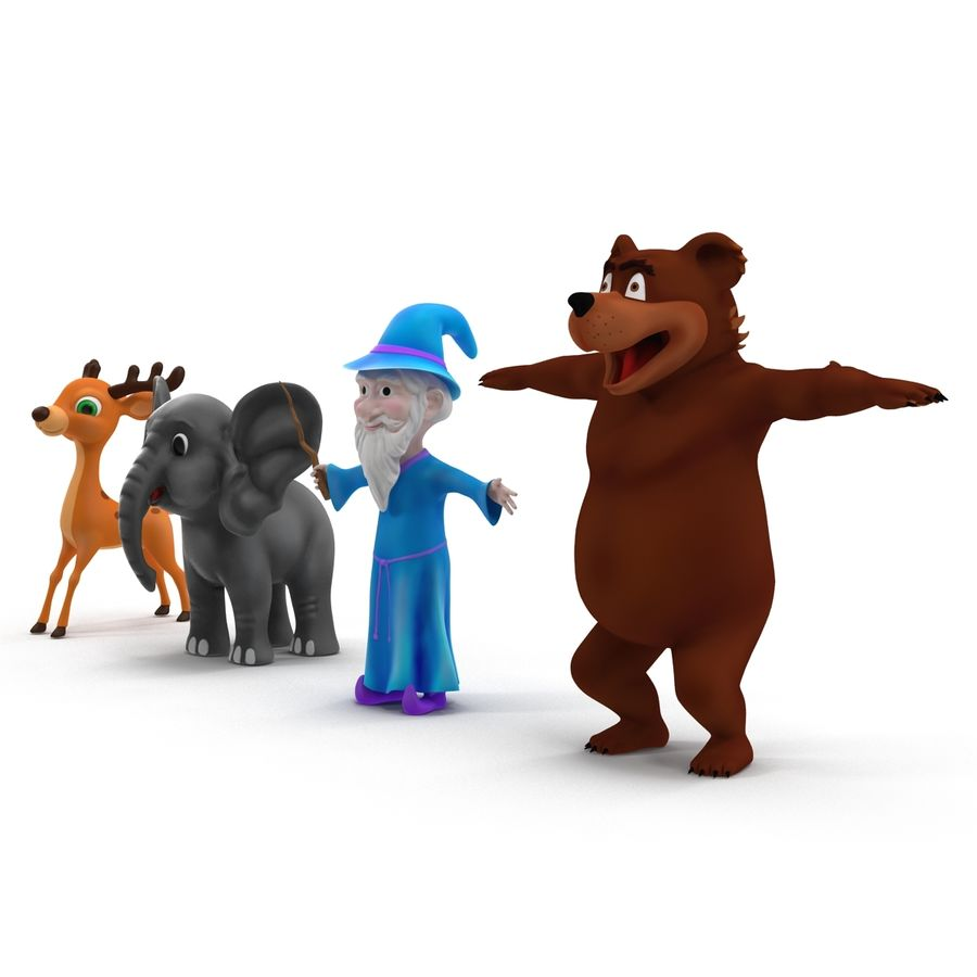 Cartoon Characters Collection royalty-free 3d model - Preview no. 3