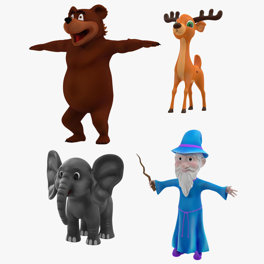 Cartoon Characters Collection royalty-free 3d model - Preview no. 1