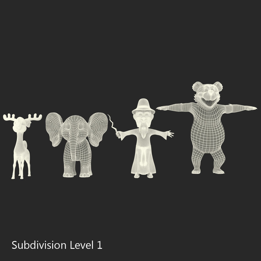 Cartoon Characters Collection royalty-free 3d model - Preview no. 50