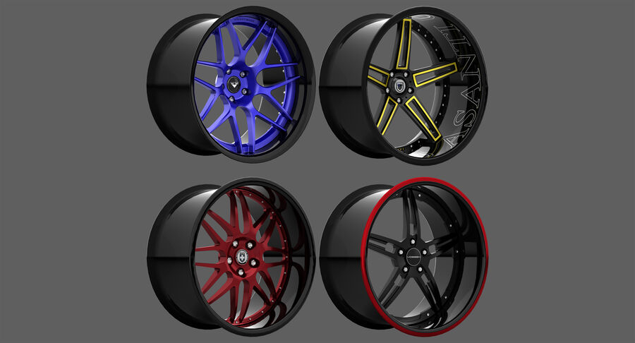 Rims Pack - Asanti & HRE & Vossen & Vorsteiner royalty-free 3d model - Preview no. 2