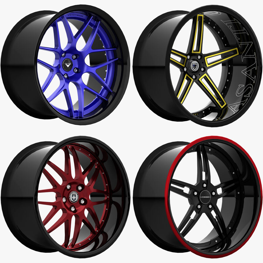 Rims Pack - Asanti & HRE & Vossen & Vorsteiner royalty-free 3d model - Preview no. 1