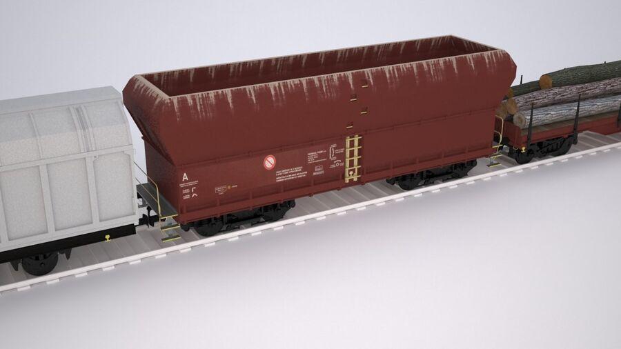 Treno merci royalty-free 3d model - Preview no. 7