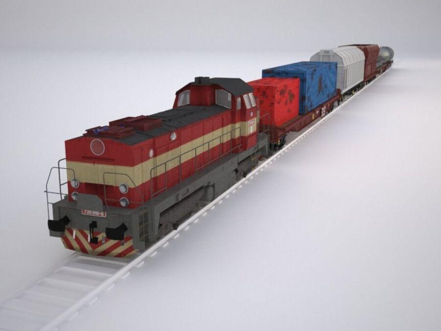 Treno merci royalty-free 3d model - Preview no. 3
