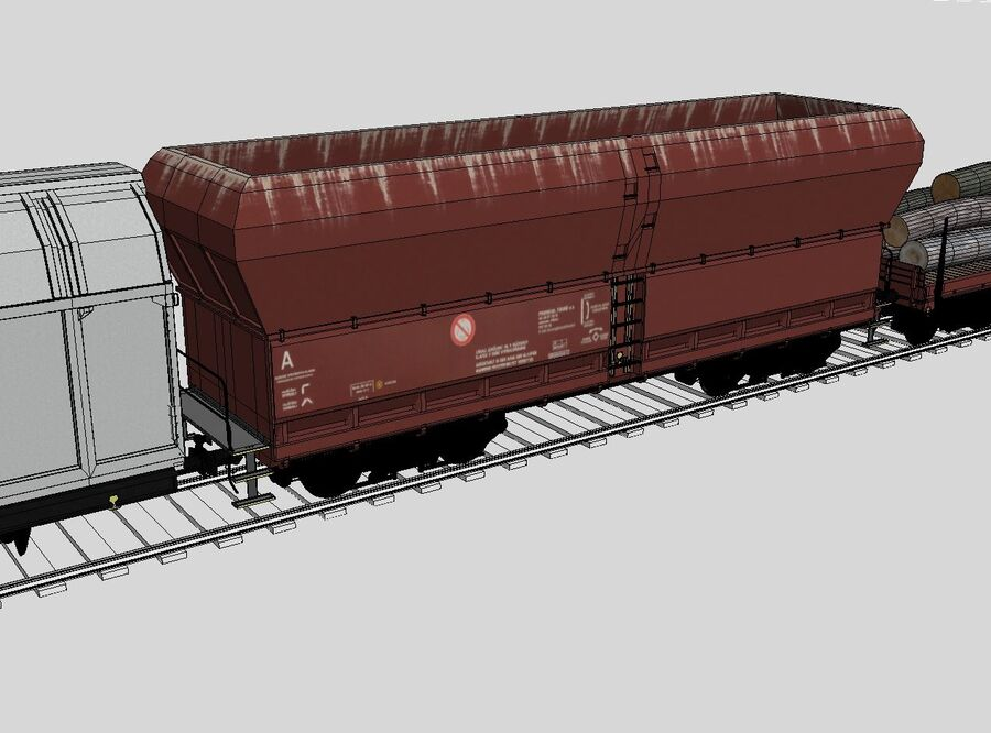 Treno merci royalty-free 3d model - Preview no. 13