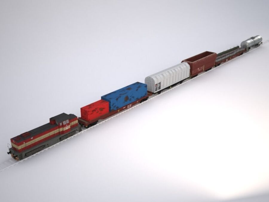 Treno merci royalty-free 3d model - Preview no. 1