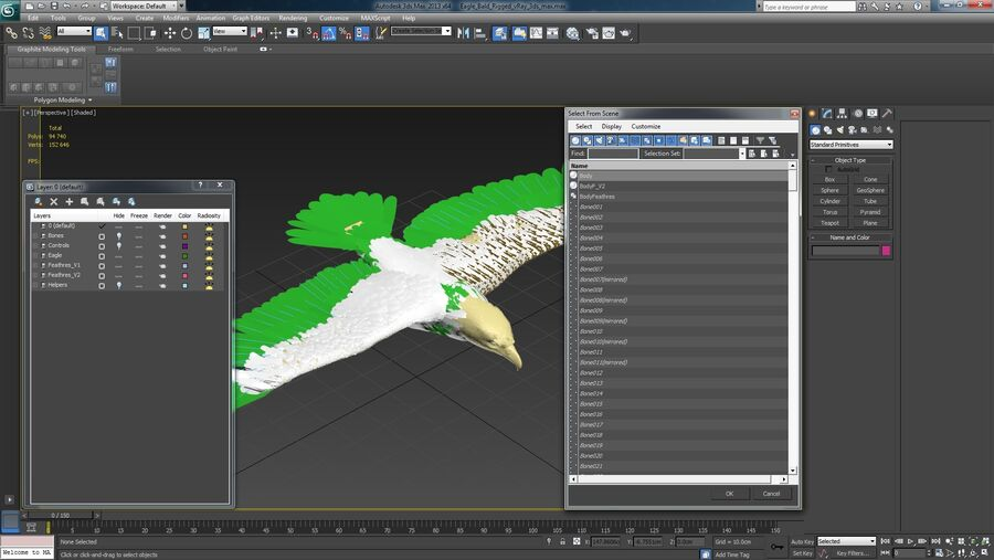 Bald Eagle Rigged royalty-free 3d model - Preview no. 29