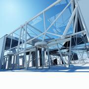 未来派建筑室内 3d model
