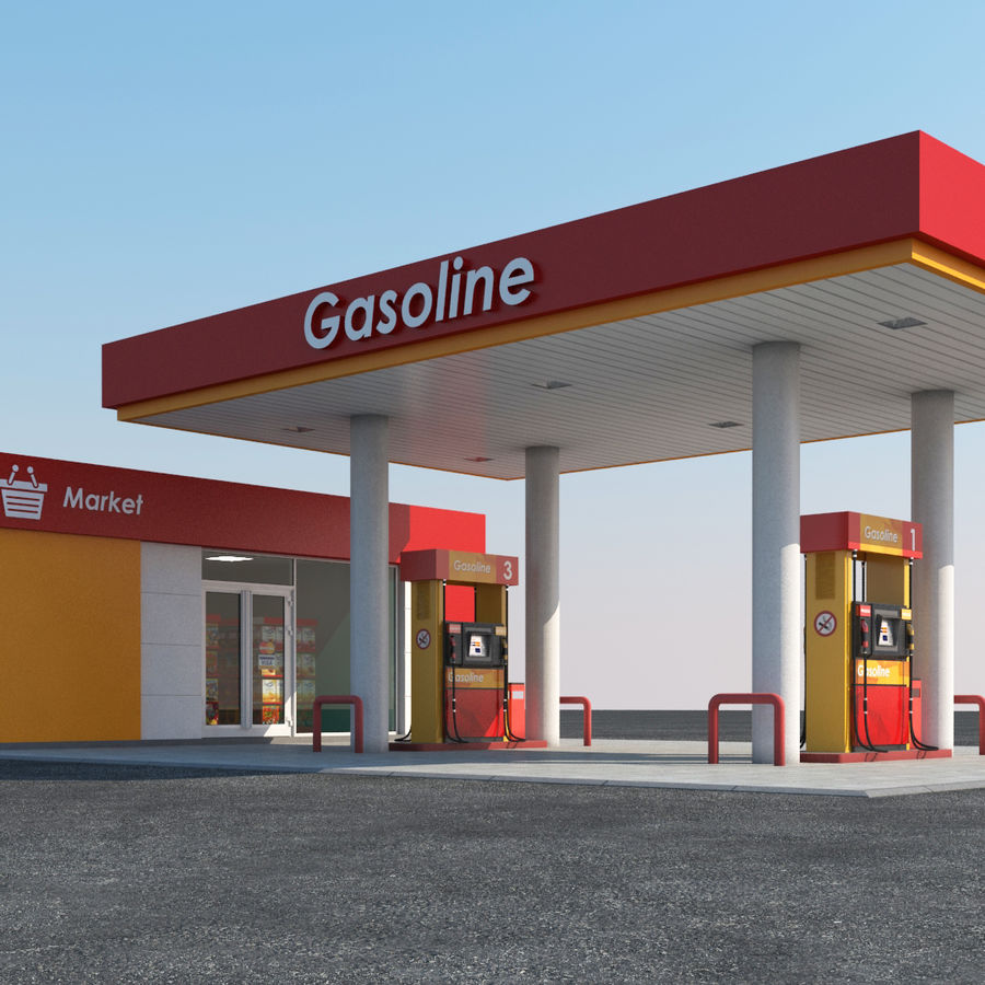 Gas station scene(3) royalty-free 3d model - Preview no. 2