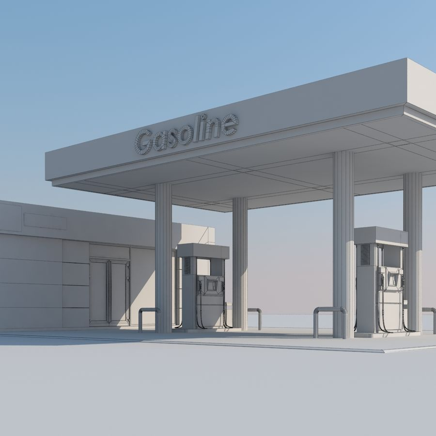 Gas station scene(3) royalty-free 3d model - Preview no. 7