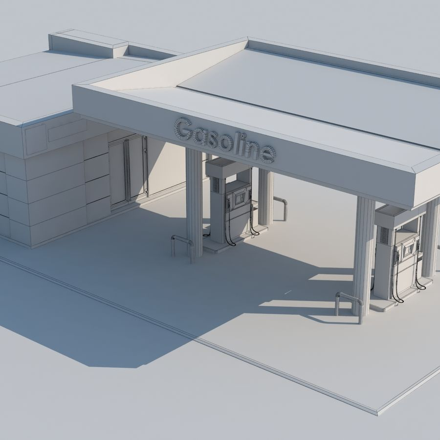 Gas station scene(3) royalty-free 3d model - Preview no. 9
