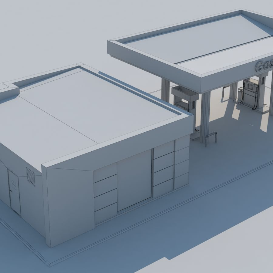 Gas station scene(3) royalty-free 3d model - Preview no. 11