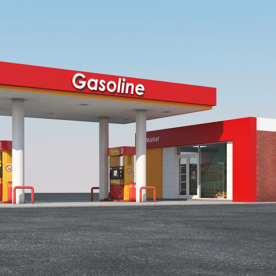 Gas station scene(3) royalty-free 3d model - Preview no. 4