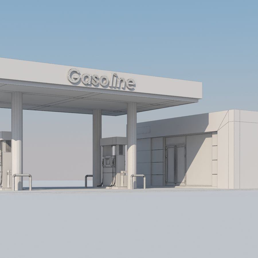 Gas station scene(3) royalty-free 3d model - Preview no. 10