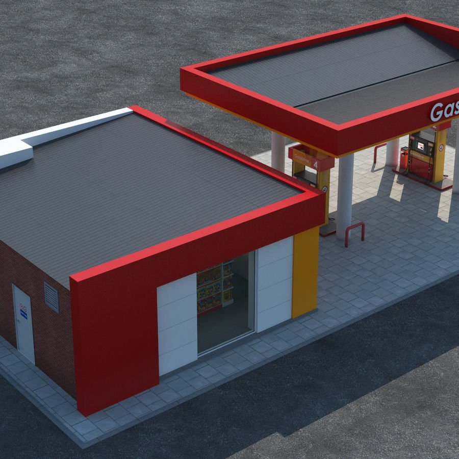 Gas station scene(3) royalty-free 3d model - Preview no. 5