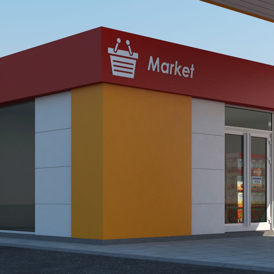 Gas station scene(3) royalty-free 3d model - Preview no. 3