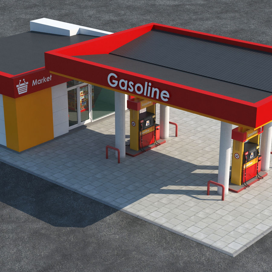 Gas station scene(3) royalty-free 3d model - Preview no. 1