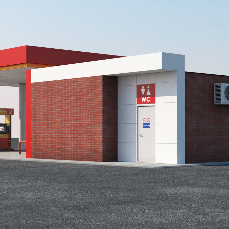 Gas station scene(3) royalty-free 3d model - Preview no. 6