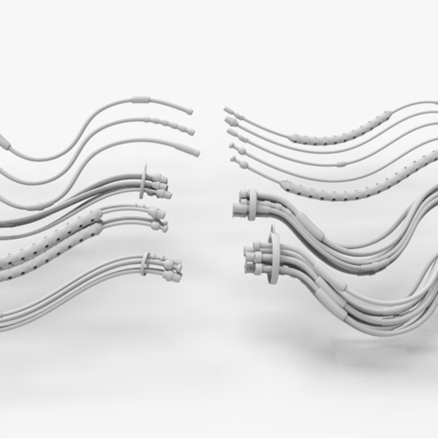 Sci-Fi Cables, Wires and Tubes Kit royalty-free 3d model - Preview no. 3