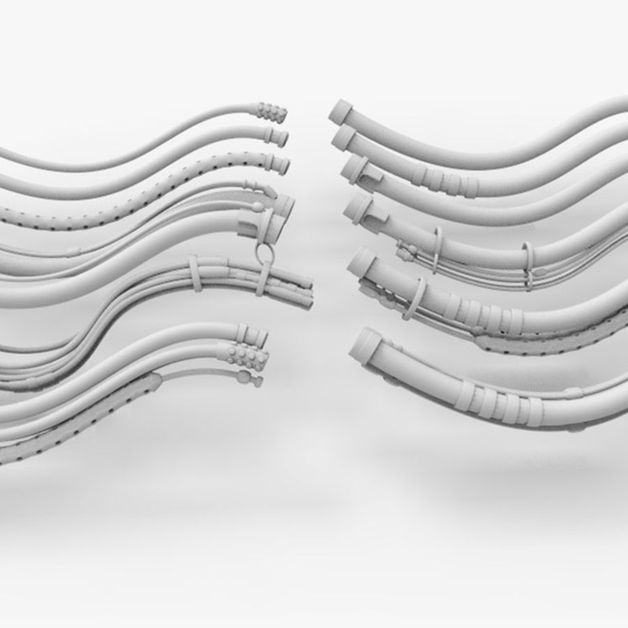 Sci-Fi Cables, Wires and Tubes Kit royalty-free 3d model - Preview no. 31