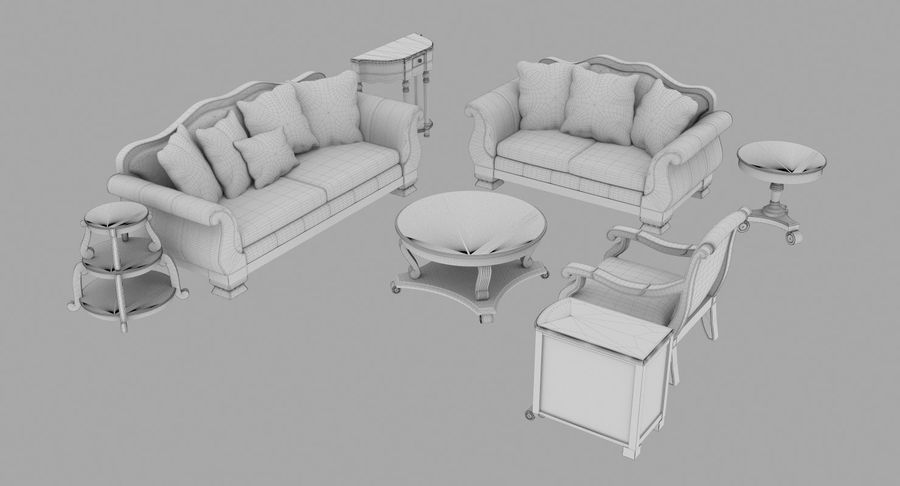 Furniture Living Room royalty-free 3d model - Preview no. 6