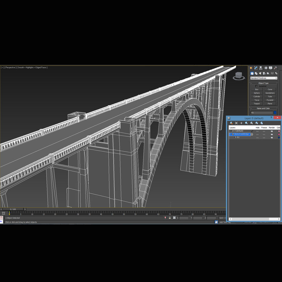 Bixby Creek Bridge royalty-free 3d model - Preview no. 17