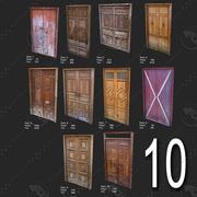 10 Porta Low Poly per le risorse del gioco 3d model